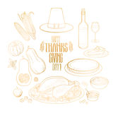 Graphic Thanksgiving day collection Stock Photos