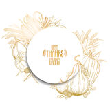 Graphic Thanksgiving day. Elements in the shape of circle. Vector design  on white background in golden colors Stock Photo