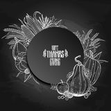 Graphic Thanksgiving day. Elements in the shape of circle. Vector proper food  on the chalkboard Stock Photos