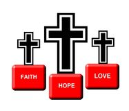 Graphic of three crosses. On pedestals of faith, hope, love Stock Image