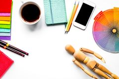 Graphic tools in designer concept on white background top view m royalty free stock photos