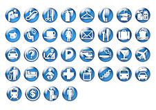 Graphic travel icons on blue circle. Graphic illustration of icons for travel related and airport Royalty Free Stock Photos