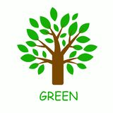 Graphic tree with green leaves. Ecological logo or icon. vector illustration