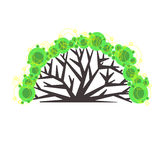 Graphic tree logo. Suitable for ecological, social, landscape, community projects. Vector isolated illustration. vector illustration