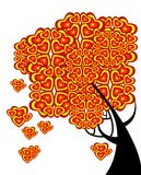 Graphic tree of love with hearts Stock Photos