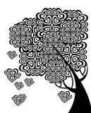 Graphic  tree of love with hearts Royalty Free Stock Images