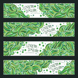 Graphic trendy green banners set. Abstract geometric  background with waves ornament elements, doodle card with place for your text. Vector illustration Royalty Free Stock Photography
