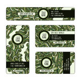 Graphic trendy green banners set. Graphic trendy green  banners set. Abstract geometric  background with waves ornament elements, doodle card with place for Royalty Free Stock Image