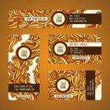 Graphic trendy orange  banners set. Stock Photos