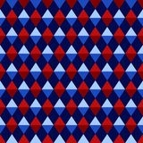 Geometric Triangles and Diamonds Seamless Pattern. Graphic triangles and diamonds in shades of red and blue on navy blue background seamless pattern Stock Photo