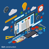 Graphic user interface construction, application development, website design vector concept Royalty Free Stock Photos