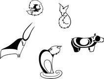 Graphic vector black-white animals vector illustration
