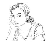 Graphic vector hand-drawn illustration of white skin sorrowful a. Ttractive lady with stylish hairdo. People face expressions. Sad and pensive young girl Royalty Free Stock Photography