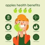 Graphic vector illustration of beautiful hand drawn infographics with apples health benefits vector illustration