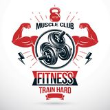 Graphic vector insignia created with strong sportsman biceps arm Royalty Free Stock Image