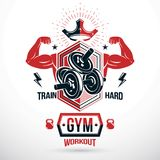 Graphic vector insignia created with strong sportsman biceps arm. Disc weight dumb bell and kettle bell sport equipment. Sport emblem for weightlifting gym and Stock Images