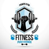 Graphic vector insignia created with strong sportsman biceps arm. Holding disc weight dumb bell and with kettle bell sport equipment. Gym weightlifting and Royalty Free Stock Images