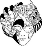 Graphic vector mask. Graphic vector venetian mask in black and white vector illustration