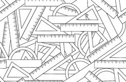 Graphic vector seamless pattern with school kit accessories: triangles, angle protractors and rulers Stock Photo