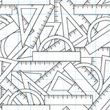 Graphic vector seamless pattern with school kit accessories: triangles, angle protractors and rulers Royalty Free Stock Photography