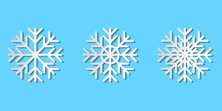 Graphic vector set of paper cut snowflakes; white paper art snow royalty free illustration