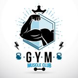 Graphic vector sign created with strong athlete biceps arm,. Royal crown and kettle bell sport equipment. Gym weightlifting and fitness sport club emblem Stock Photos