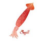 Graphic vector squid Royalty Free Stock Photo