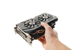 Graphic video card in a hand Stock Image