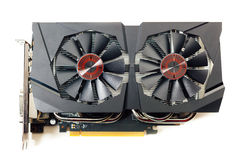 Graphic video card, isolated on white. Graphic video card, closeup view isolated on white Royalty Free Stock Image