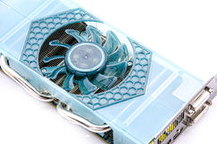 Graphic Video Card. A powerful graphics card on a white background Stock Photos