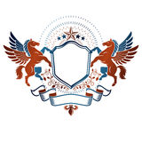 Graphic vintage emblem composed with winged Pegasus ancient anim Royalty Free Stock Images