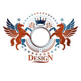 Graphic vintage emblem composed with winged Pegasus ancient anim Royalty Free Stock Photo