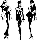 Graphic vintage women silhouettes Stock Image