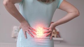 Backache, Female Touching Hands Against Lower Back, Health Problems, Rheumatism