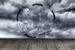 Graphic on wall with stormy sky Royalty Free Stock Image