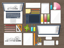 Graphic web design. Drawing and painting. Development. Illustration, sketching, freelance. User interface. UI. Computer. Graphic web design. Drawing and painting Royalty Free Stock Images