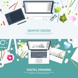 Graphic web design. Drawing and painting. Development. Illustration sketching and freelance. User interface UI. Computer. Laptop stock illustration
