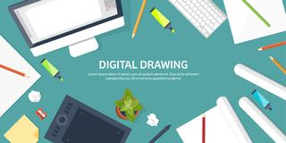 Graphic web design. Drawing and painting. Development. Illustration sketching and freelance. User interface UI. Computer. Laptop vector illustration