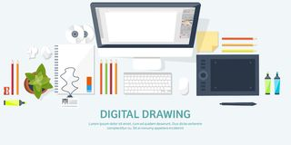 Graphic web design. Drawing and painting. Development. Illustration sketching and freelance. User interface UI. Computer. Laptop royalty free illustration