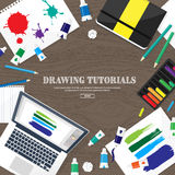 Graphic web design. Drawing and painting. Development.  Royalty Free Stock Image