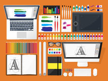 Graphic web design. Drawing and painting.   Stock Photos