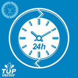 Graphic web vector 24 hours timer, around-the-clock flat pictogr Stock Photos