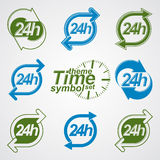 Graphic web vector 24 hours timer, around-the-clock pictograms Royalty Free Stock Photos
