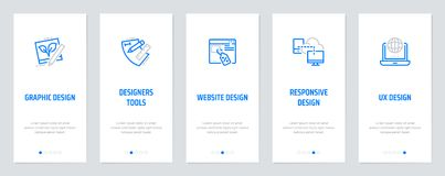 Graphic, Website, Responsive, UX design, Designers tools, Vertical Cards with strong metaphors. Graphic Website Responsive UX design Designers tools, Vertical Royalty Free Stock Images