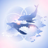 Graphic whales flying in the sky royalty free illustration