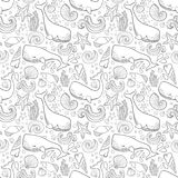 Graphic whales flying in the sky. Sea and ocean creatures. Vector fantasy seamless pattern. Coloring book page design for adults a. Nd kids hand draw Royalty Free Stock Photos