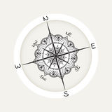 Graphic wind rose compass drawn with floral elements. Nautical vector illustration can be used for coloring book page design, tattoo template, business style Royalty Free Stock Photos