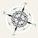 Graphic wind rose compass drawn with floral elements. Nautical vector illustration can be used for coloring book page design, tattoo template, business style stock illustration