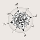 Graphic wind rose compass drawn with floral elements. Nautical vector illustration can be used for coloring book page design, tattoo template, business style Royalty Free Stock Image