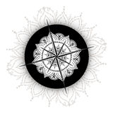 Graphic wind rose compass drawn with floral elements. Nautical vector illustration can be used for coloring book page design, tattoo template, business style Stock Image